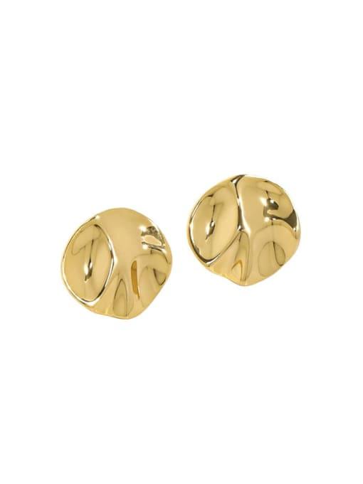 18K gold [with pure Tremella plug] 925 Sterling Silver Geometric Minimalist Stud Earring